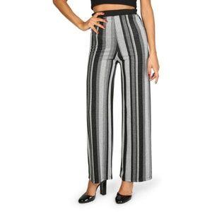 Lokita Grey Elastic Waist Striped Trouser